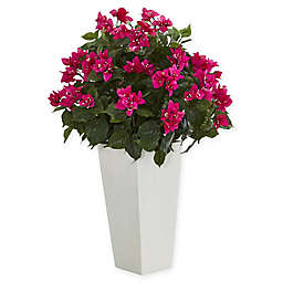 Nearly Natural 31-Inch Pink Bougainvillea Plant in White Tower Vase