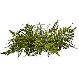 Nearly Natural 21-Inch Mixed Fern Candle Holder