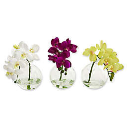 Nearly Natural 9-Inch Phalaenopsis Orchid Artificial Arrangement (Set of 3)