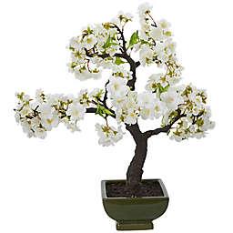 Nearly Natural Artifical Cherry Blossom Bonsai Tree in Dark Green Planter