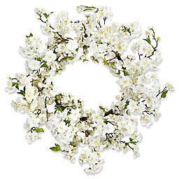 Nearly Natural 24-Inch Cherry Blossom Wreath in White