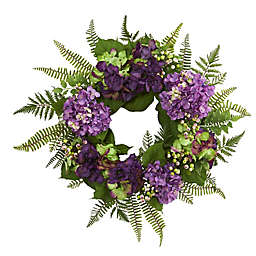 Nearly Natural 24-Inch Hydrangea and Berry Wreath