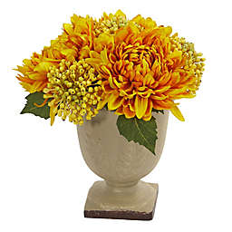 Nearly Natural 12-Inch Mum Arrangement with Decorative Planter in Yellow
