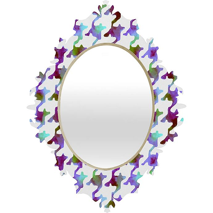 Alternate image 1 for Deny Designs Watercolor Houndstooth Medium Wall Mirror in Amethyst Tundra