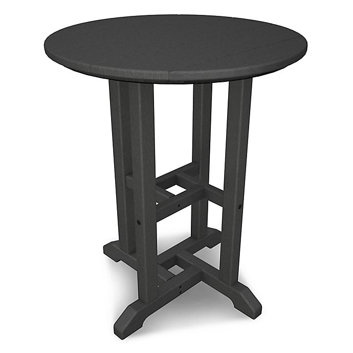 Alternate image 1 for POLYWOOD® Traditional 24-Inch Round Dining Table in Slate Grey