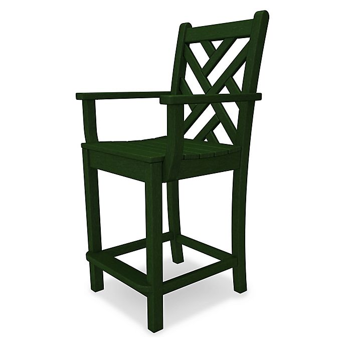 Alternate image 1 for POLYWOOD® Chippendale Counter Arm Chair in Green