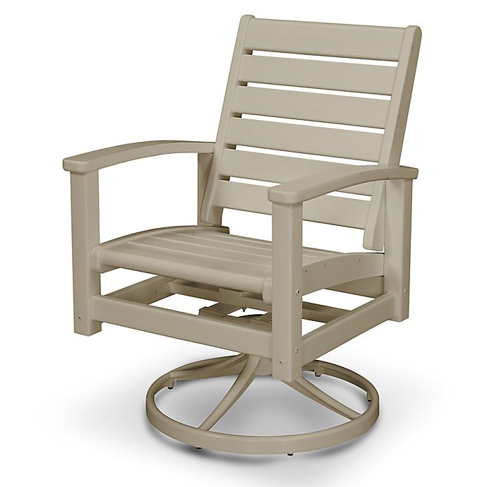 Alternate image 1 for POLYWOOD® Signature Two-Tone Swivel Rocking Chair in Tan/Sand