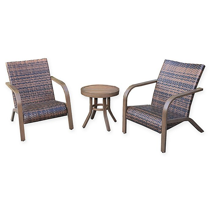 Alternate image 1 for Destination Summer 3-Piece Wicker Adirondack Set in Brown
