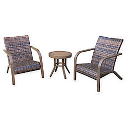 Destination Summer 3-Piece Wicker Adirondack Set in Brown
