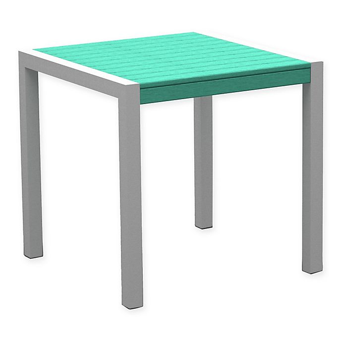 Alternate image 1 for POLYWOOD® Mod 30-Inch Square All-Weather Dining Table in Silver/Aruba