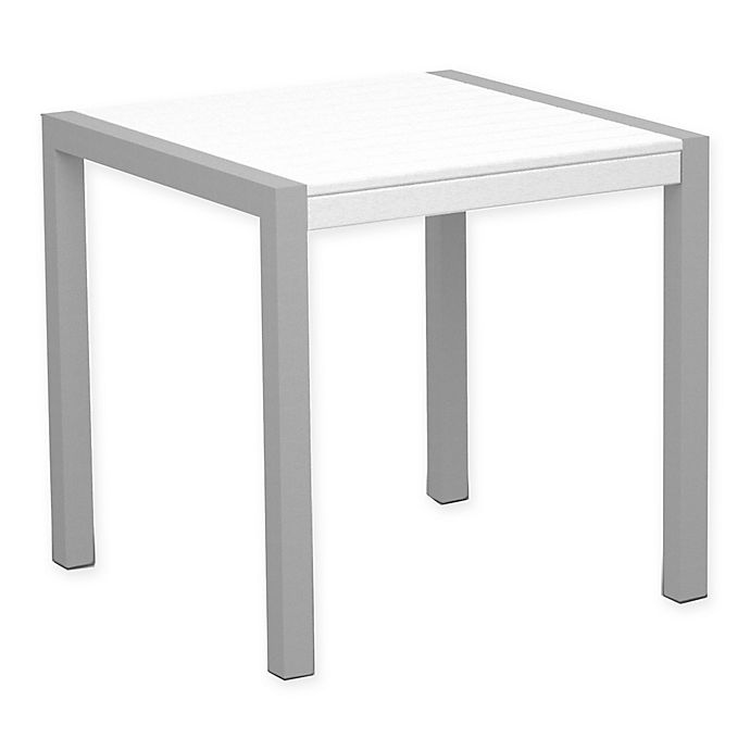 Alternate image 1 for POLYWOOD® Mod 30-Inch Square All-Weather Dining Table in Silver/White