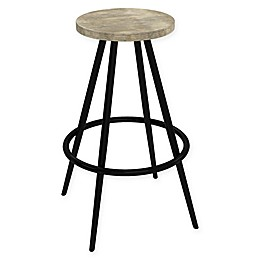 Novogratz Leo Farmhouse Bar Stool in Black/Grey