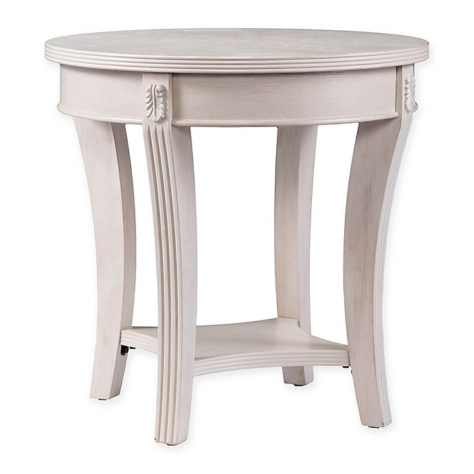 Southern Enterprises Laverly Round End Table With Whitewash Finish Bed Bath Beyond