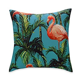 Destination Summer Flamingo Reversible Square Indoor/Outdoor Throw Pillow