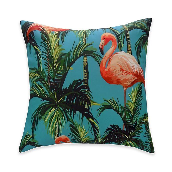Alternate image 1 for Destination Summer Flamingo Reversible Square Indoor/Outdoor Throw Pillow