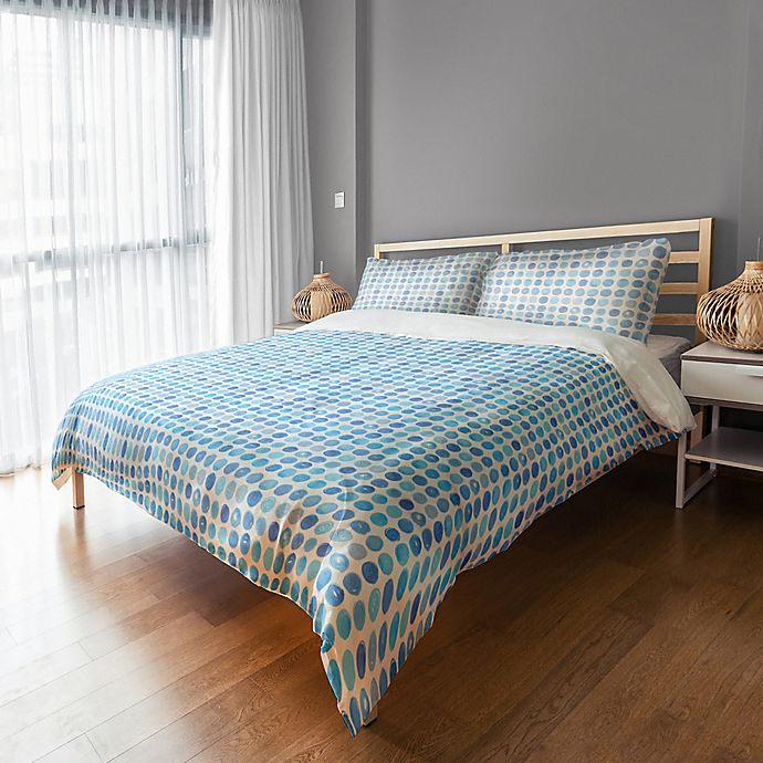Alternate image 1 for Designs Direct Blue Dots Twin Duvet Cover in Blue