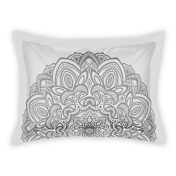 Alternate image 1 for Designs Direct Medallion King Pillow Sham in Grey