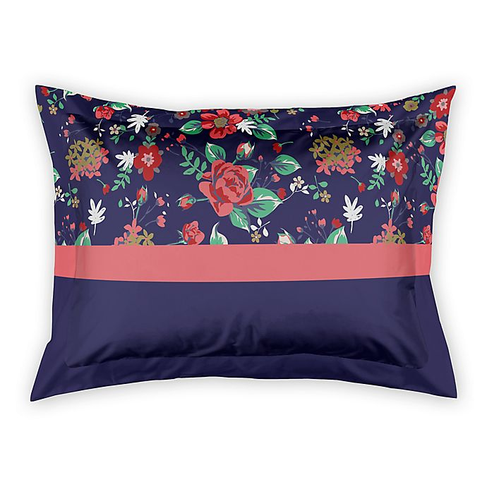 Alternate image 1 for Designs Direct Florals King Pillow Sham in Navy
