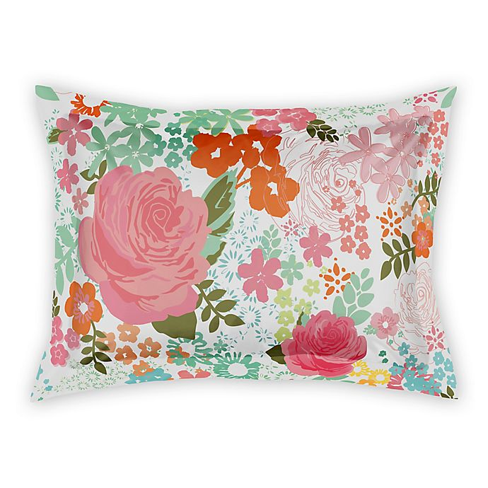 Alternate image 1 for Designs Direct Retro Bright Blooms Pillow Sham in Pink