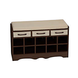 Household Essentials® 10-Pocket Shoe Cubby Entryway Storage Bench in Mahogany