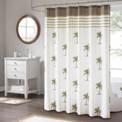 Madison park palm shower curtain in green bed bath beyond - Bed bath and beyond palm beach gardens ...