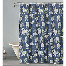 Evening Corsage Shower Curtain in Navy