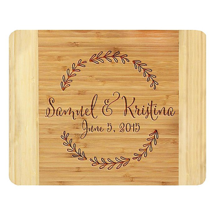 Alternate image 1 for Stamp Out Branch Wreath 11-Inch x 14-Inch Bamboo Cutting Board