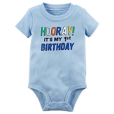 "carter's® Short Sleeve ""1st Birthday"" Bodysuit in Blue"