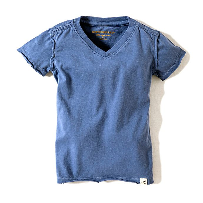 Alternate image 1 for Burt's Bees Baby® Solid High V-Neck T-Shirt in Blue