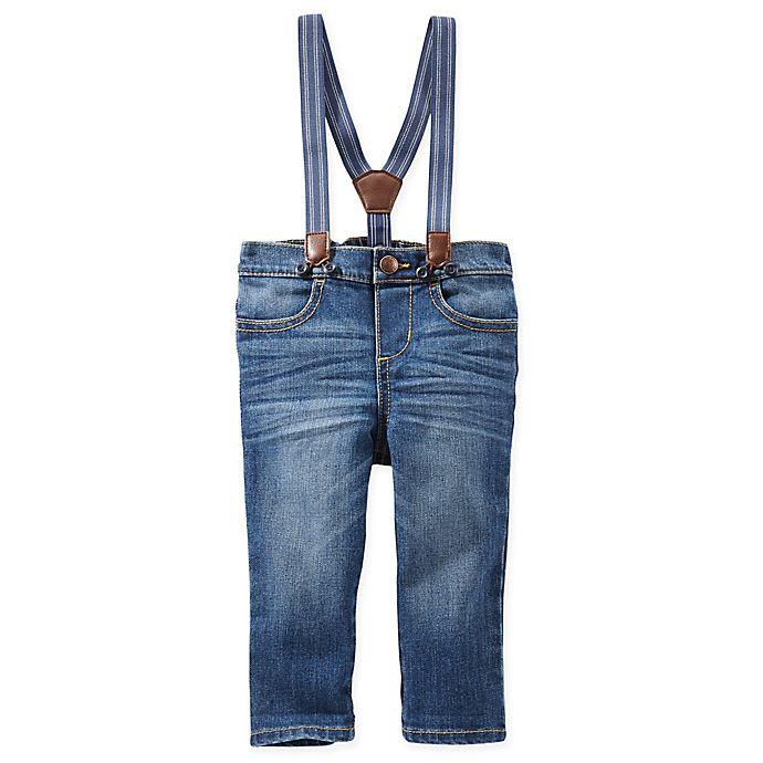 Alternate image 1 for OshKosh B'gosh® Size 0-3M Derby Wash Jean Suspender Pants