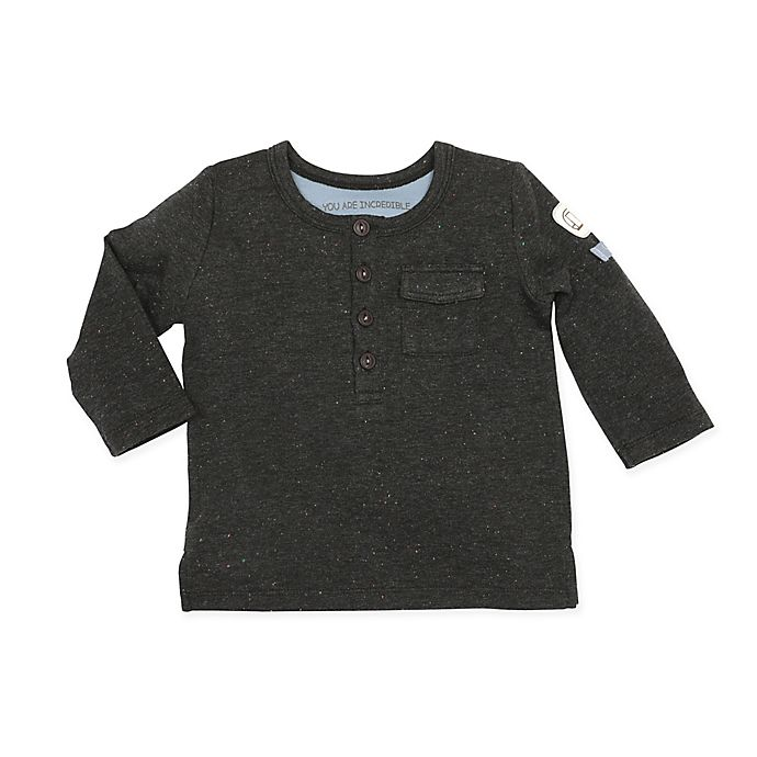 Alternate image 1 for Robeez® Size 6-9M Speckled Long-Sleeve Shirt in Grey