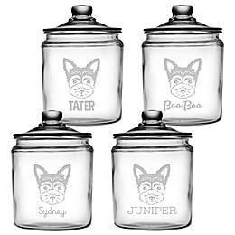 Dog Face 64 oz. Clear Glass Treat Jar Collection