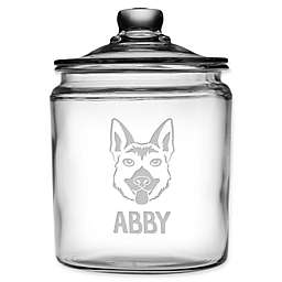 German Shepherd Face 64 oz. Clear Glass Treat Jar