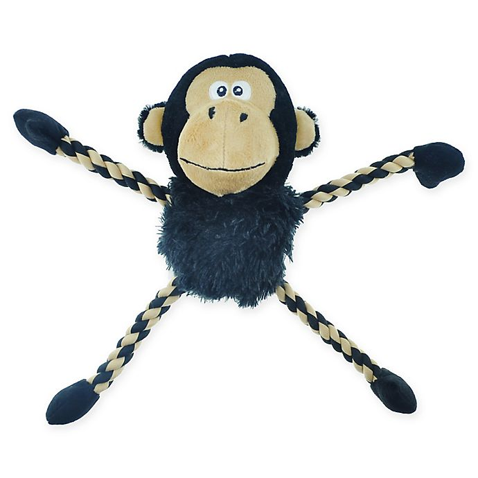 Alternate image 1 for Bounce & Pounce Plush Monkey Dog Toy in Black/Brown