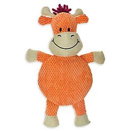 Bounce & Pounce Burlap Safari Cow Squeaker Dog Toy in Orange