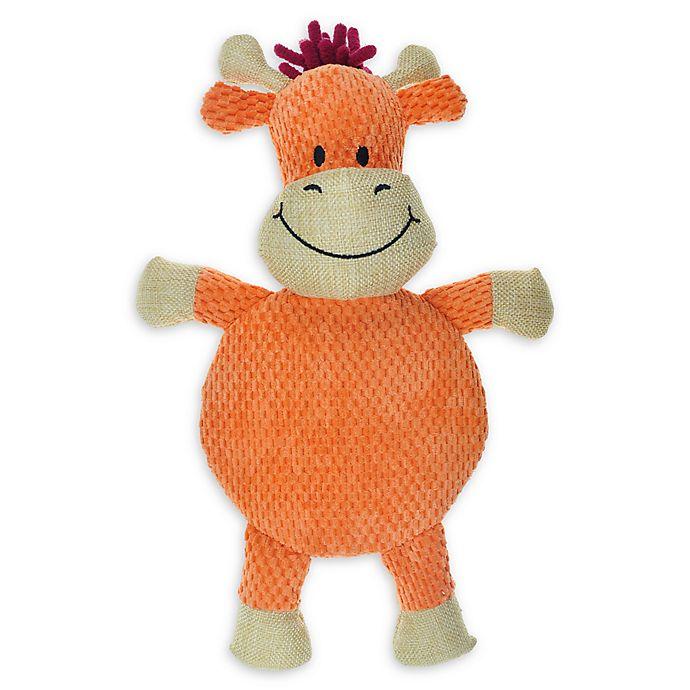 Alternate image 1 for Bounce & Pounce Burlap Safari Cow Squeaker Dog Toy in Orange
