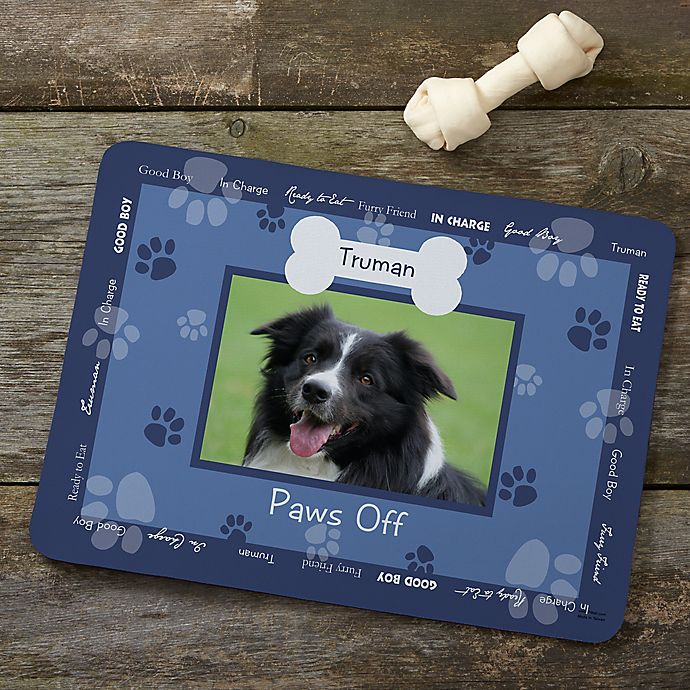 Alternate image 1 for Throw Me a Bone Photo Dog Food Mat in Blue