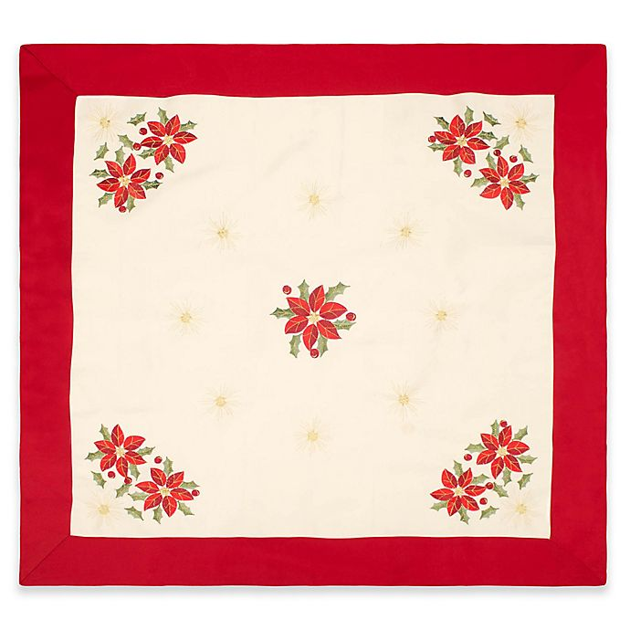 Alternate image 1 for Creative Home Ideas Poinsettia Embroidered 36-Inch Square Table Topper