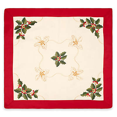 Holly Berries 36-Inch Square Embroidered Table Topper