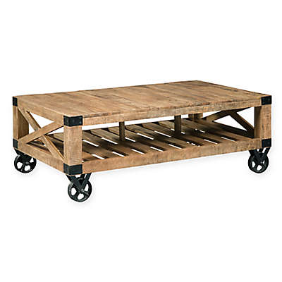 Scott Living Industrial Coffee Table with Wheels