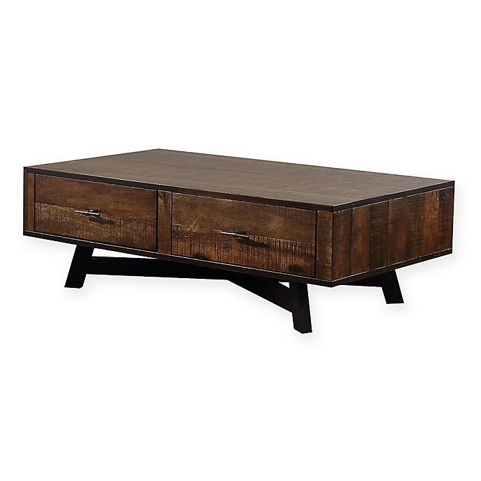 Alternate image 1 for Scott Living Rustic Coffee Table with Metal X-Base