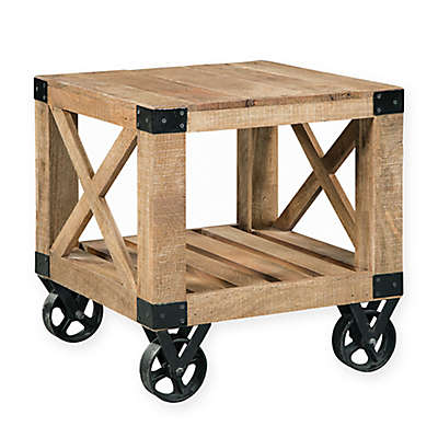 Scott Living Industrial End Table with Wheels