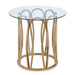 Scott Living Modern Round End Table in Chocolate Chrome
