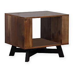 Scott Living Rustic End Table with Metal X-Base