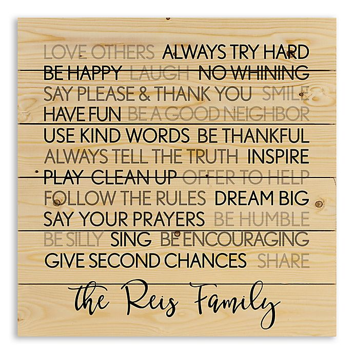Alternate image 1 for Designs Direct Family Rules 21-Inch Square Wooden Wall Art