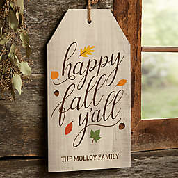 Happy Fall Y'all 17-Inch x 9.5-Inch Wood Wall Tag