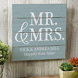 Mr. & Mrs. 12-Inch Square Wood Slat Sign