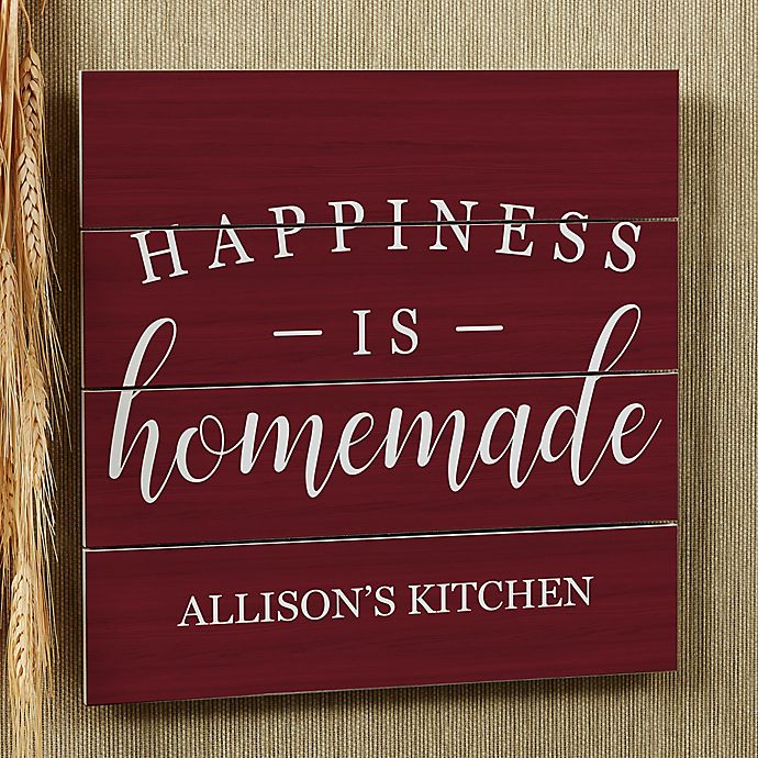 Happiness Is Homemade Handpainted Sign Handmade 12x12 Wall: Happiness Is Homemade 12-Inch Square Wood Slat Sign