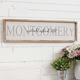 Family Name Long Barnwood 30-Inch x 8-Inch Framed Wall Art