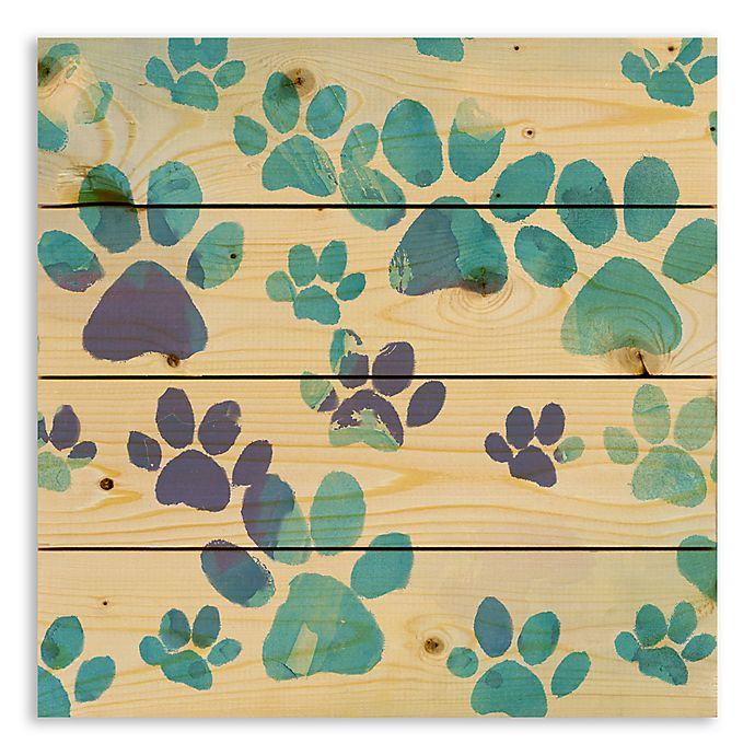 Alternate image 1 for Designs Direct Watercolor Paw Prints 14-Inch Square Pallet Wood Wall Art